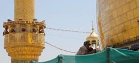 العتبة العلوية المقدسة تباشر بمشروع تأهيل وتذهيب حزام قبة المرقد المطهر بأكثر من ثلاثة آلاف صفيحة مذهبة