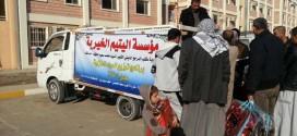 مؤسسة اليتيم الخيرية توزع المساعدات على العوائل النازحة في بابل